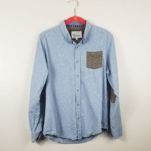 Brave Soul Blue Elbow Patches Long Sleeve Top